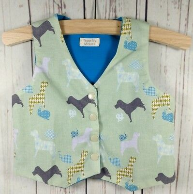 Baby Boys Handmade Bespoke Cotton Dog & Snail Print Waistcoat Age 6-9 Months