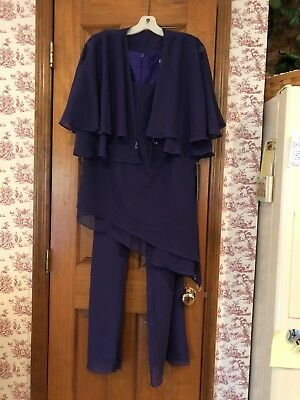 Mother/Bride Wedding Formal Party Sheer Pant Suit Purple Size 18 Jewels NWT