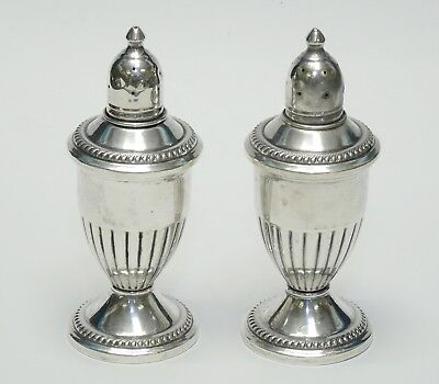 """Pair Of Sterling Silver Weighted Salt And Pepper Shakers ~ 4.75"""""""