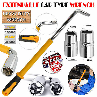 Extendable Wheel Wrench Telescopic Spanner with 17 19 21 23mm Socket Nut Tyre UK