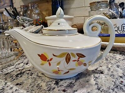 Vintage Hall's Superior China Jewel Autumn Leaf Aladdin Tea Pot Infuser & Lid