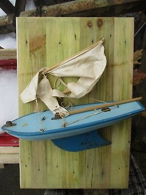 Vintage Birkenhead Model Sail Boat Star yacht Sky Blue project Made in England