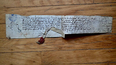 Circa 1409 Medieval French Document Manuscript Red Wax Seal Rare 600 +Years Old!