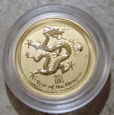 2012 1/20oz $5 .9999 Fine Gold Australian Lunar Series Dragon