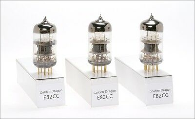 3x E82CC -01 ECC82 Golden Dragon triple mica goldpin audio tube - tested !