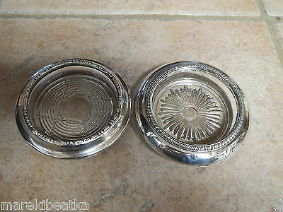 Vtg  Sterling Silver & Heavy Glass Two Coasters