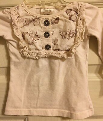Persnickety Cream Butterfly Top Girls Size 12M
