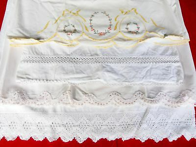 Vintage 1930s Tatted Embroidery Lace Pillowcase Lot French Farmhouse Bedroom