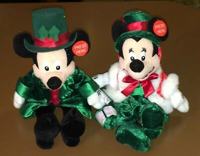 """Mickey and Minnie Mouse Disney 10"""" Plush Stuffed Toys Christmas Scrooge Cratchit"""