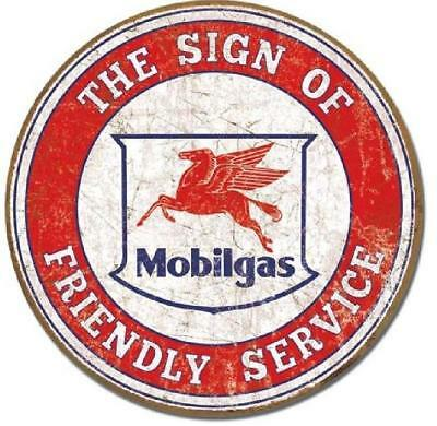 Mobilgas Friendly Service Round Sign