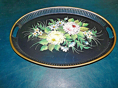 "Antique Vintage Oval Tray 17"" XL Genuine Hand Painted Toleware Floral Tin Metal"