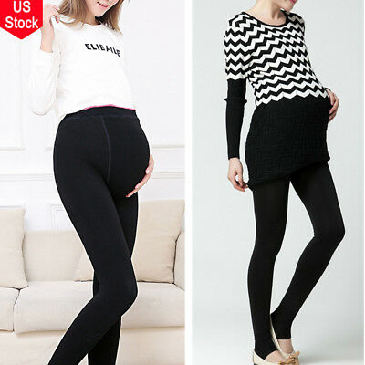 Pregnant Stretch Pants Long Full Length Fleece Lined Leggings Thick Winter Warm