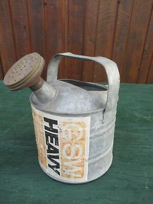 "OLD Galvanized Garden Watering Can In Great Condition 10"" High with Brass Nozzle"