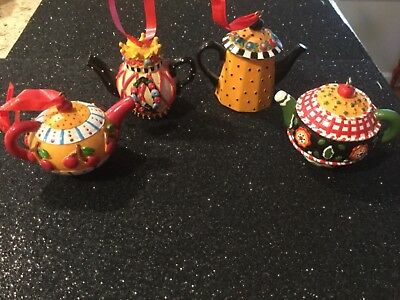 Lot of 4 Teapot Ornaments cherries, crown Christmas Collectible Mary Engelbreit