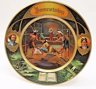 "1907 JAMESTOWN EXPOSITION Vienna Art Plates 10"" tin tray HIGH GRADE *"