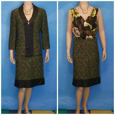 ST. JOHN Collection Knit Green Cream Jacket & Dress M 10 8 2pc Suit Black Trims