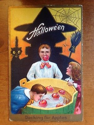 Vintage Halloween Nash Postcard embossed apple bobbing Ducking gold trim