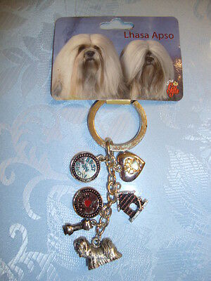 Lhasa Apso  Key Chain Ring / 6 Charms--Little Gifts