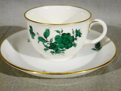 Vienna Augarten Handpainted Porcelain Maria Theresia Flowers Mocha Cup & Saucer