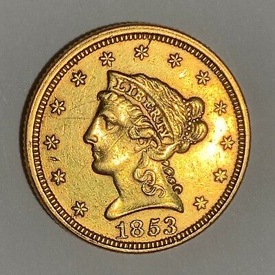 $2 1/2 $2.5 American Gold liberty 1853 Quarter Eagle