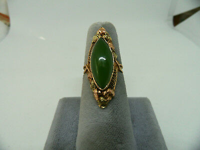 Antique Art Nouveau 14k Rose Green Gold Natural Jade Elongated Arts Crafts Ring