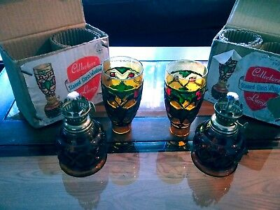 Vintage Pair Of Two Amber Stained Glass Mini Hurricane Oil Lamps Original Boxes