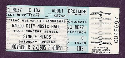 Simple Minds Radio City Music Hall NYC 1985 ticket sub Original