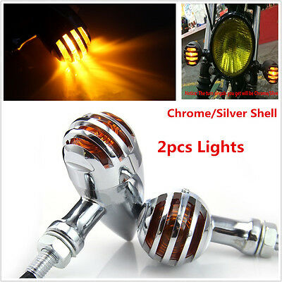 2pcs motorcycle barbecue bullet flash turn signal light amber float chopper