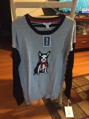 NWT, Boston Terrier Christmas Themed Sweater, size Medium