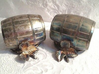 Silver Plate Pair Of Barrel & Leaves Napkin Ring Holders Silverplate
