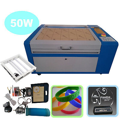 50W CO2 Laser Engraver Cutter Machine USB Interface w/ Auxiliary Rotary Device