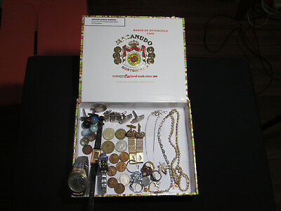 junk drawer lot estate sale jewelry sterling old coins old marbles watches rings