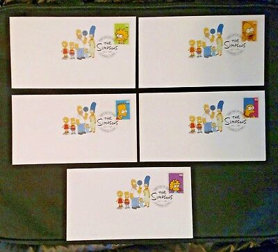 "Complete Set of 5 ""The Simpsons"" USPS First Day of Issue Stamp Covers, 5/7/2009"