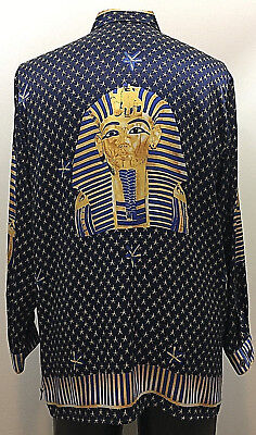 Rare Vintage Unisex Blue & Gold Egyptian Design Silk Shirt Mens Large Womens 1X