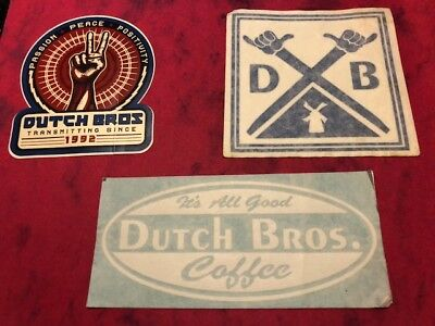 "(3) Dutch Bros. Stickers Lot Inc. ""it's All Good"" & ""passion Peace Positivity"