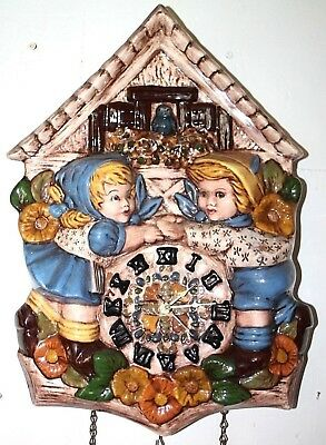Large Cuckoo Clock Style Pottery Wall Clock W/ Pottery Faux Weights & Pendulum.
