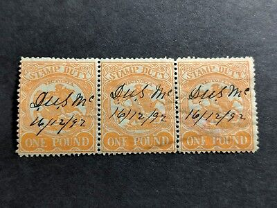 Australia Victoria State Stamp £ 1 Pound Orange Stamp Duty Strip of 3