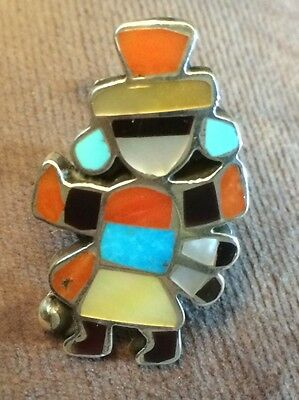 Zuni ERNEST A. ZUNIE Signed Rainbow Man Gorgeous Mosaic Inlay Ring  Sz 6.75