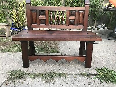 Vintage 1974 Mexican Colonial Bench. Antique Furniture Bench. Old Furniture
