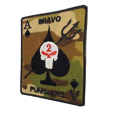 multicam ace of spades seal team 2 bravo punishers parche sew iron on patch