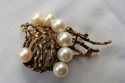 A Striking, Heavy Vintage 14ct Gold and  Pearl Spiral Form Brooch