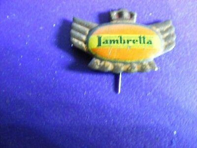 LAMBRETTA motor-scooter ...very old tinplate pin badge for lapel,hat ..Italy(B).