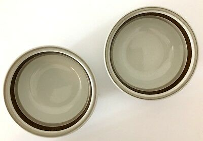 """2 Arabia Finland Pirtti 6"""" Cereal Bowls Beige Stoneware with Brown Bands MCM EUC"""