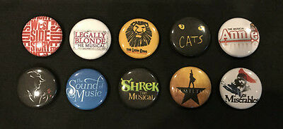Lot of 10 BROADWAY 1'' Buttons/Pins PARTY FAVORS!!!! - Lot #2