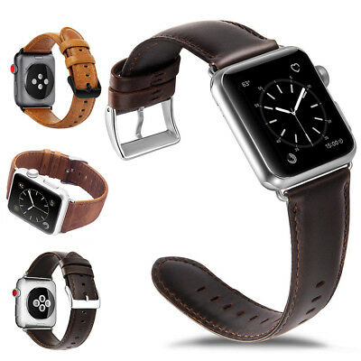 Genuine Leather Watch Band Strap Metal Buckle for Apple Watch Series 4/3/2/1
