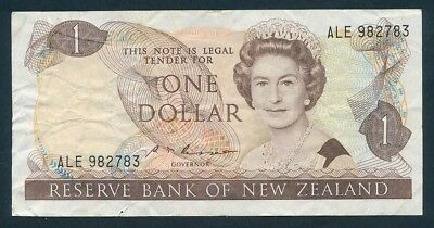 "New Zealand: 1985 $1 Russell QEII Portrait SCARCE WORD PREFIX ""ALE"". P169b NVF"