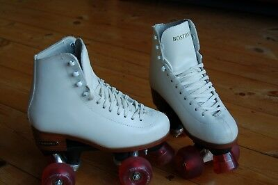 Roller Skates BOSTON II WHITE LEATHER QUAD ROLLER SKATE