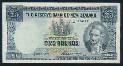 "New Zealand: 1955 £5 Wilson PREFIX NO/LETTER ""1/W"". Pick 160b NVF - Cat VF $160"