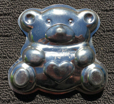"""TEDDY BEAR """"Silver"""" Small Novelty Shaped Quality Metal Tin Chocolate Soap Mould"""