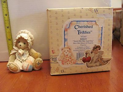 Cherished Teddies Bear 1993 Kelly Heart Figurine 916307 You're my One and Only